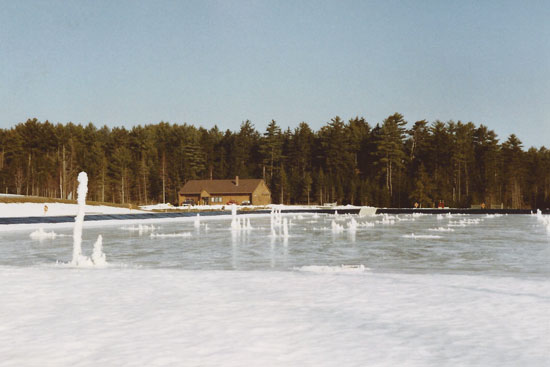 wastewater lagoon in winter